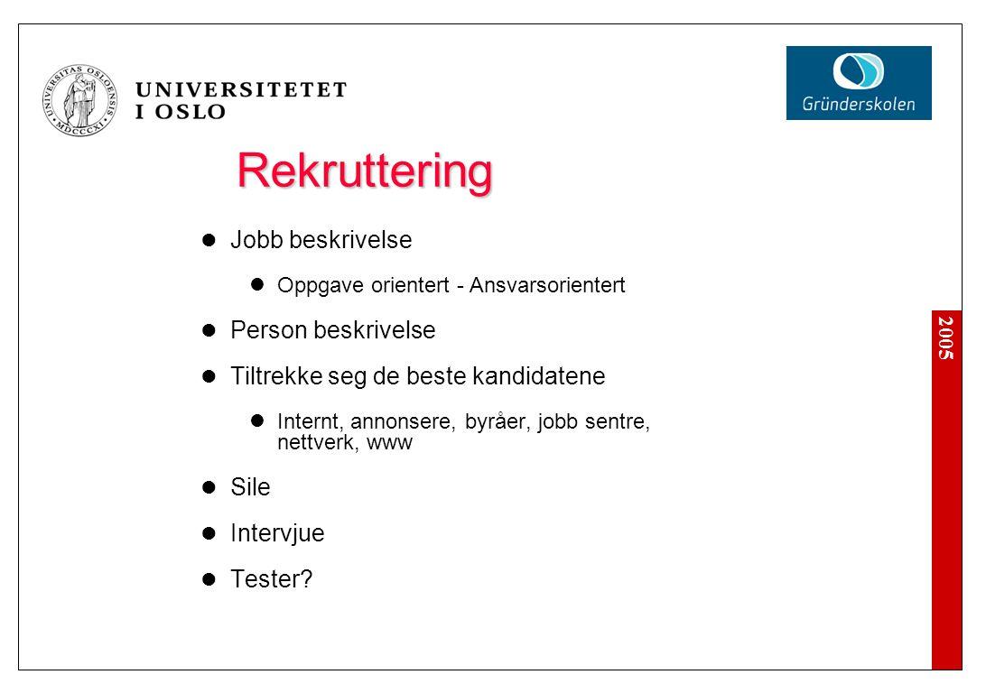 2005 Rekruttering Rekruttering Jobb beskrivelse Oppgave orientert - Ansvarsorientert Person beskrivelse Tiltrekke seg de beste kandidatene Internt, an
