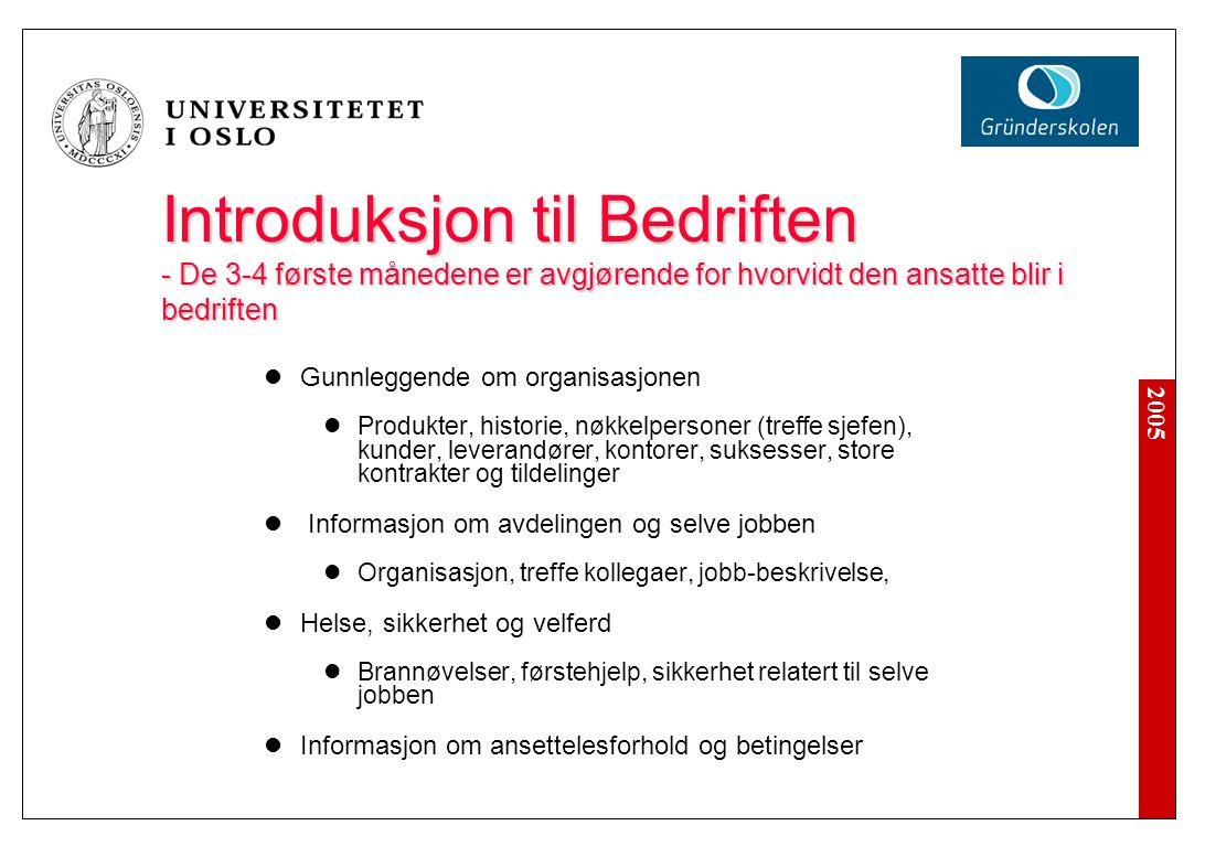 2005 Introduksjon til Bedriften - De 3-4 første månedene er avgjørende for hvorvidt den ansatte blir i bedriften Gunnleggende om organisasjonen Produk