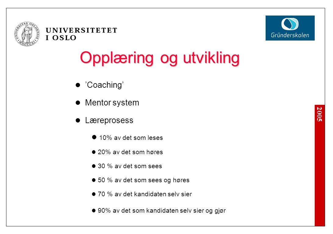 2005 Opplæring og utvikling Opplæring og utvikling 'Coaching' Mentor system Læreprosess 10% av det som leses 20% av det som høres 30 % av det som sees