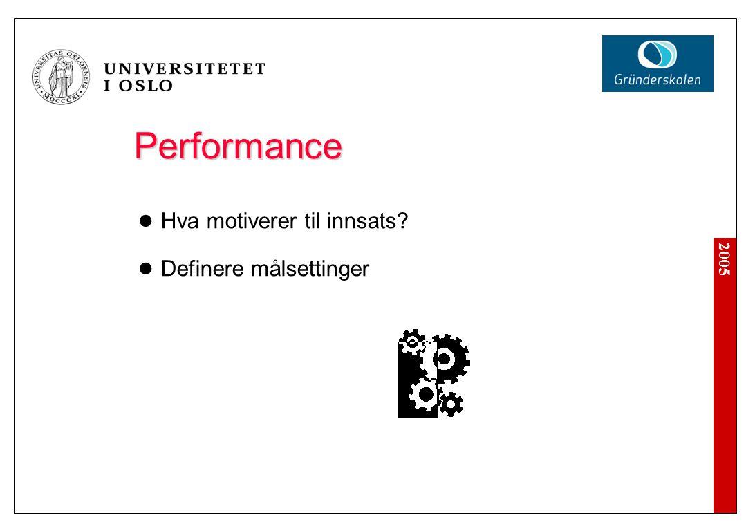 2005 Performance Performance Hva motiverer til innsats? Definere målsettinger