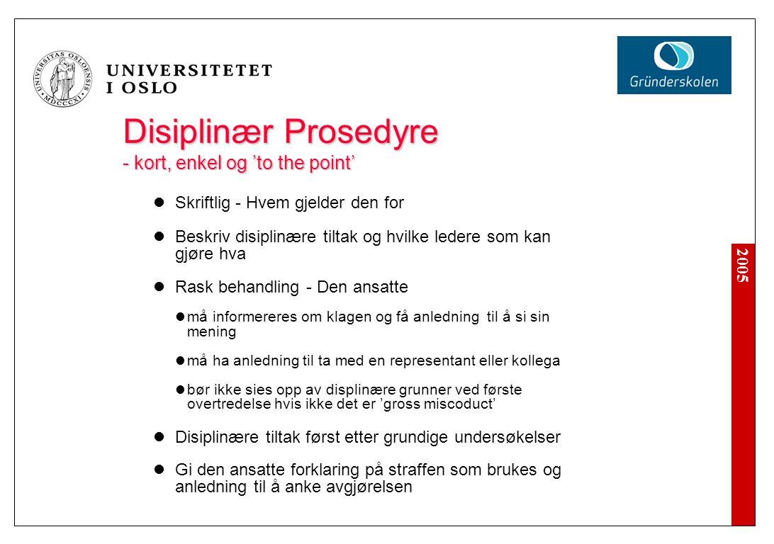 2005 Disiplinær Prosedyre - kort, enkel og 'to the point' Skriftlig - Hvem gjelder den for Beskriv disiplin æ re tiltak og hvilke ledere som kan gj ø