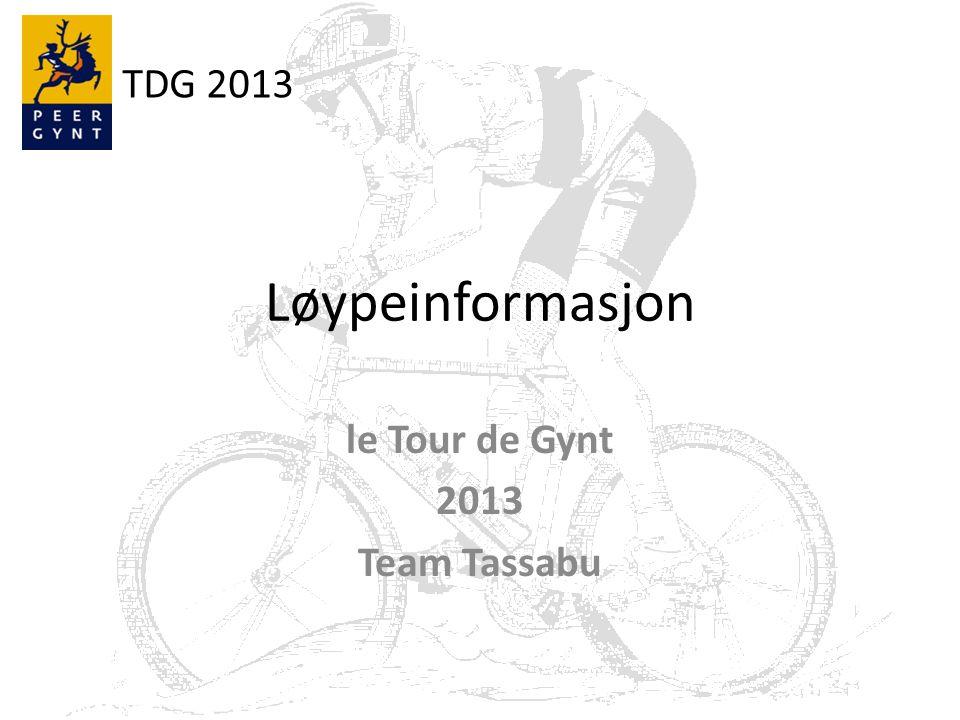 TDG 2013 TOTALT På 5 dager skal det totalt sykles: – 337,1 km fordelt på: Asfalt: 81,8 km Grus: 243,3 km Sti:12 km – Av disse er 23,1km nye i TDG.