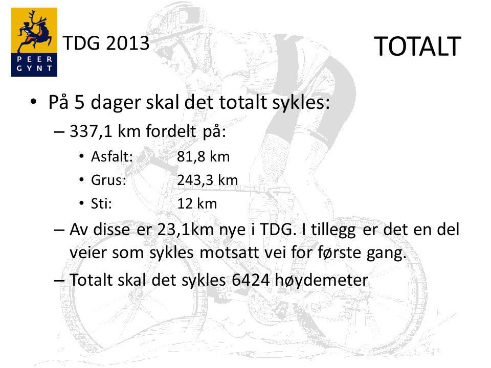 TDG 2013 Bakker – Dette inkluderer 19 kategoriserte stigninger fordelt på 15 bakker 2849 høydemeter fordelt på 45,5 km KAT 5: 5 stk KAT 4: 3 stk KAT 3: 3 stk KAT 2: 4 stk KAT 1: 1 stk HC: 3 stk