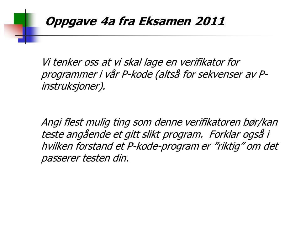 Oppgave 4a fra Eksamen 2011 Vi tenker oss at vi skal lage en verifikator for programmer i vår P-kode (altså for sekvenser av P- instruksjoner).