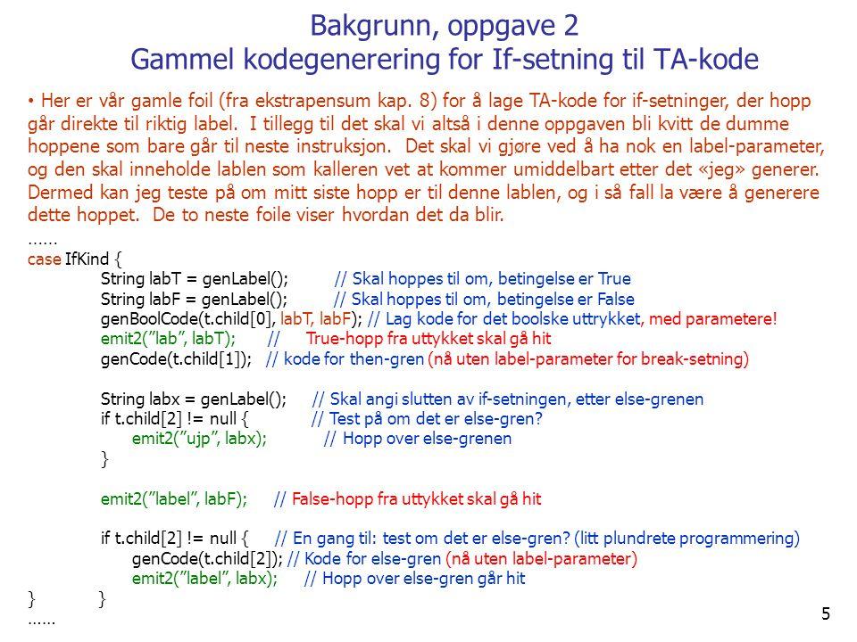 5 Bakgrunn, oppgave 2 Gammel kodegenerering for If-setning til TA-kode Her er vår gamle foil (fra ekstrapensum kap.