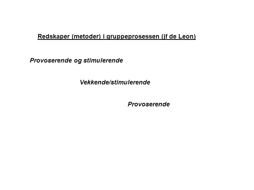 Redskaper (metoder) i gruppeprosessen (jf de Leon) Provoserende og stimulerende Vekkende/stimulerende Provoserende