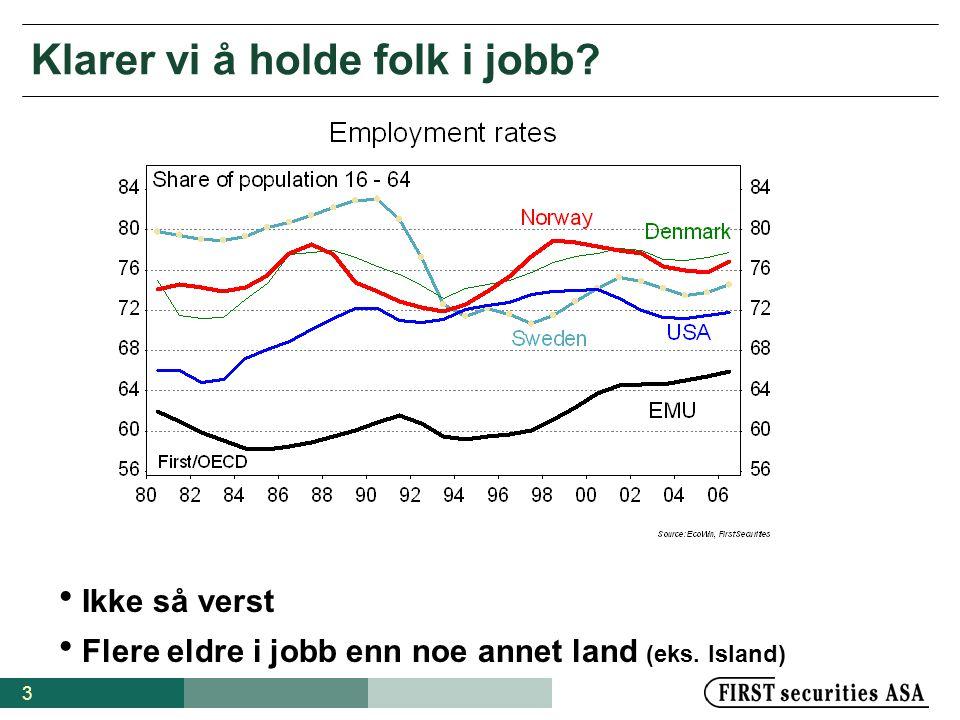3 Klarer vi å holde folk i jobb.  Ikke så verst  Flere eldre i jobb enn noe annet land (eks.