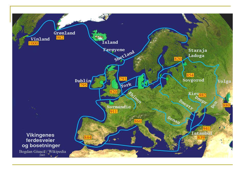 EKSPANSJON: Årsaksfaktorer Befolkningsøkning skips- og våpenteknologi maktkonsentrasjon / behov for ytre ressurser krigerkultur, status basert på ære og politisk nettverk Økt handelsvirksomhet Lite organisert motstand i Europa