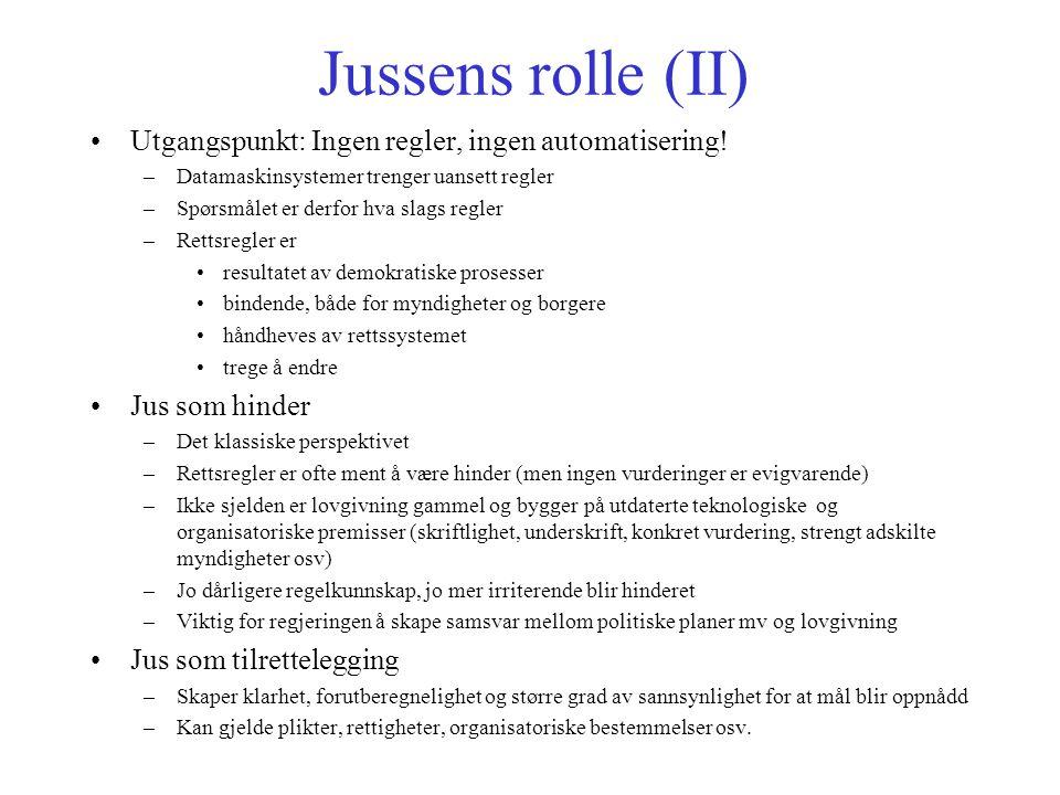 Jussens rolle (II) Utgangspunkt: Ingen regler, ingen automatisering.