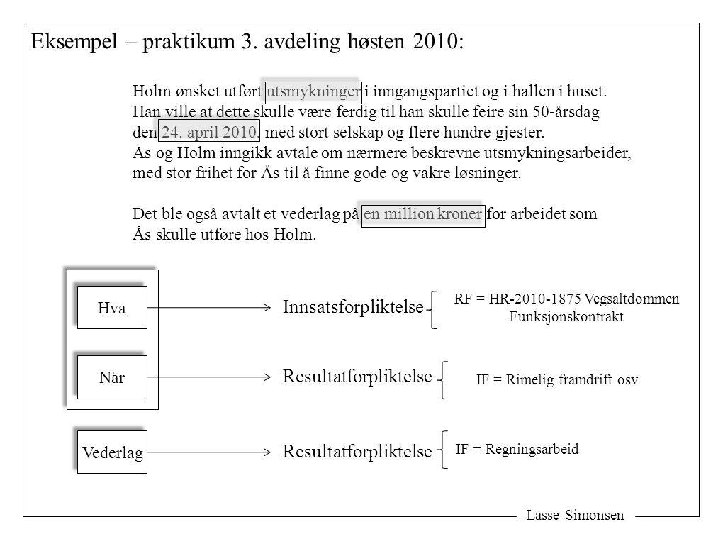 Lasse Simonsen Eksempel – praktikum 3. avdeling høsten 2010: Holm ønsket utført utsmykninger i inngangspartiet og i hallen i huset. Han ville at dette