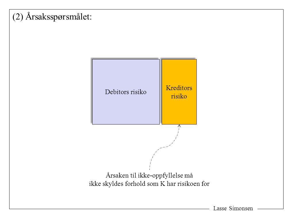 Lasse Simonsen (2) Årsaksspørsmålet: Debitors risiko Kreditors risiko Kreditors risiko Årsaken til ikke-oppfyllelse må ikke skyldes forhold som K har