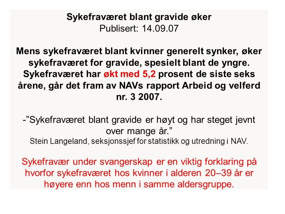 Sykefraværet blant gravide øker Publisert: 14.09.07 Mens sykefraværet blant kvinner generelt synker, øker sykefraværet for gravide, spesielt blant de