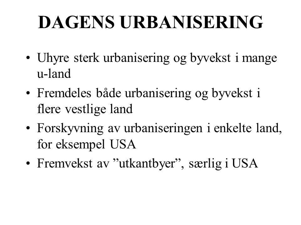 DAGENS URBANISERING Uhyre sterk urbanisering og byvekst i mange u-land Fremdeles både urbanisering og byvekst i flere vestlige land Forskyvning av urb