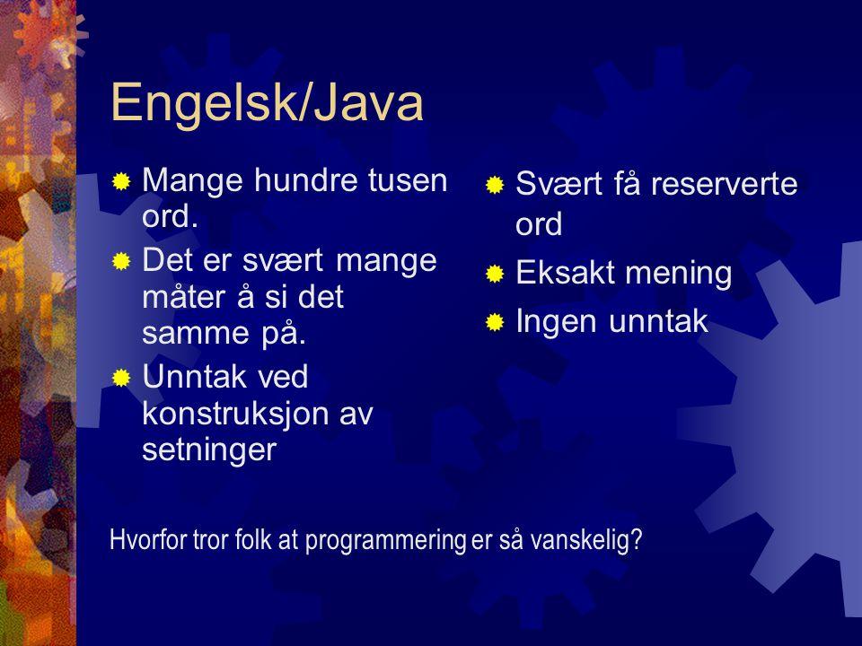Engelsk/Java  Mange hundre tusen ord.  Det er svært mange måter å si det samme på.  Unntak ved konstruksjon av setninger  Svært få reserverte ord