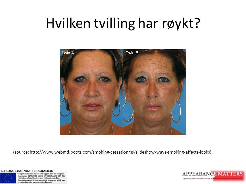 Hvilken tvilling har røykt? (source: http://www.webmd.boots.com/smoking-cessation/ss/slideshow-ways-smoking-affects-looks)