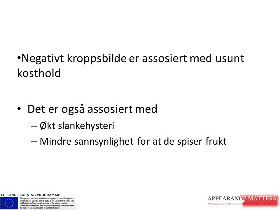 Negativt kroppsbilde er assosiert med usunt kosthold Det er også assosiert med – Økt slankehysteri – Mindre sannsynlighet for at de spiser frukt