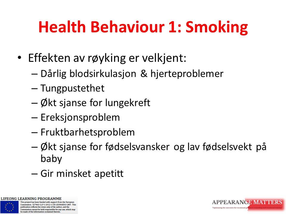 Health Behaviour 1: Smoking Effekten av røyking er velkjent: – Dårlig blodsirkulasjon & hjerteproblemer – Tungpustethet – Økt sjanse for lungekreft –