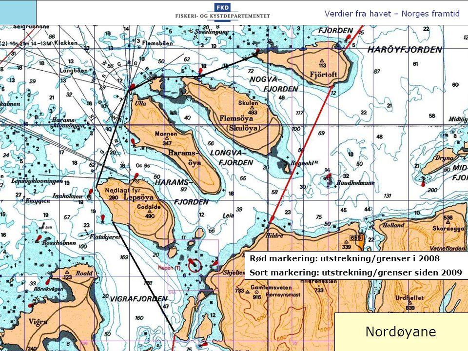 Nordøyane Rød markering: utstrekning/grenser i 2008 Sort markering: utstrekning/grenser siden 2009