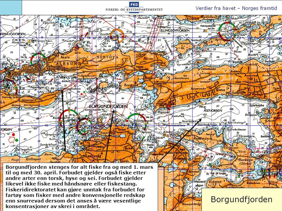 Borgundfjorden Borgundfjorden stenges for alt fiske fra og med 1. mars til og med 30. april. Forbudet gjelder også fiske etter andre arter enn torsk,