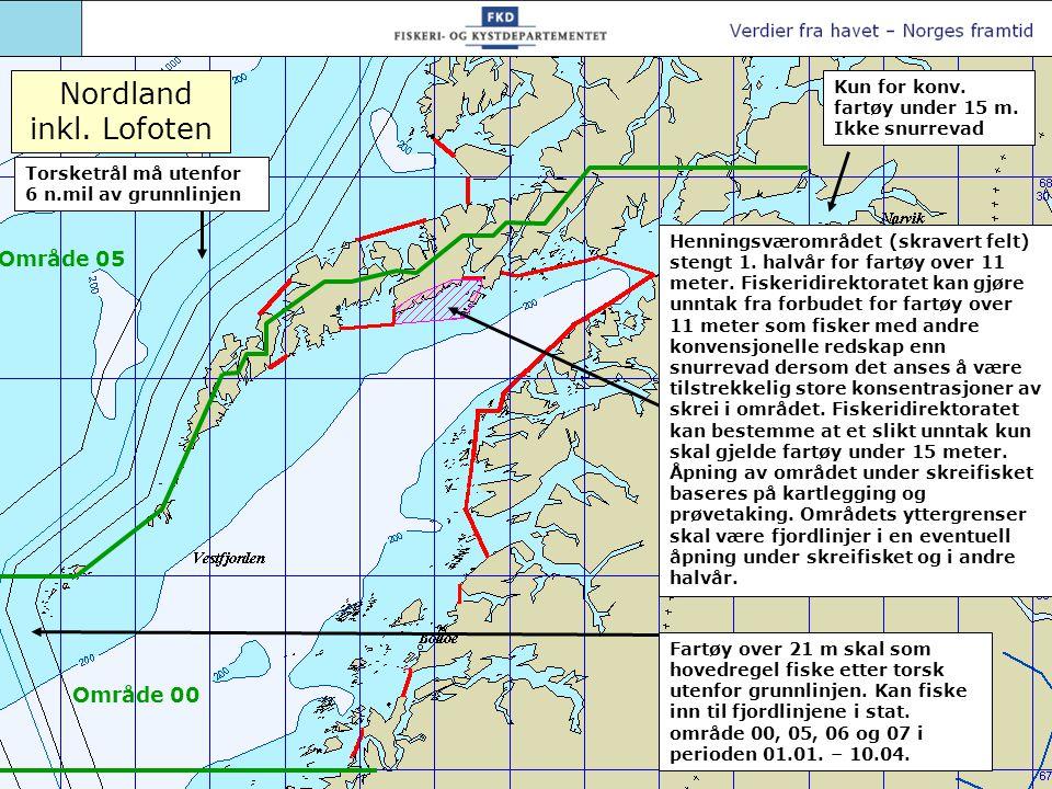 Torsketrål må utenfor 6 n.mil av grunnlinjen Område 06 Område 00 Område 05 Fartøy over 21 m skal som hovedregel fiske etter torsk utenfor grunnlinjen.
