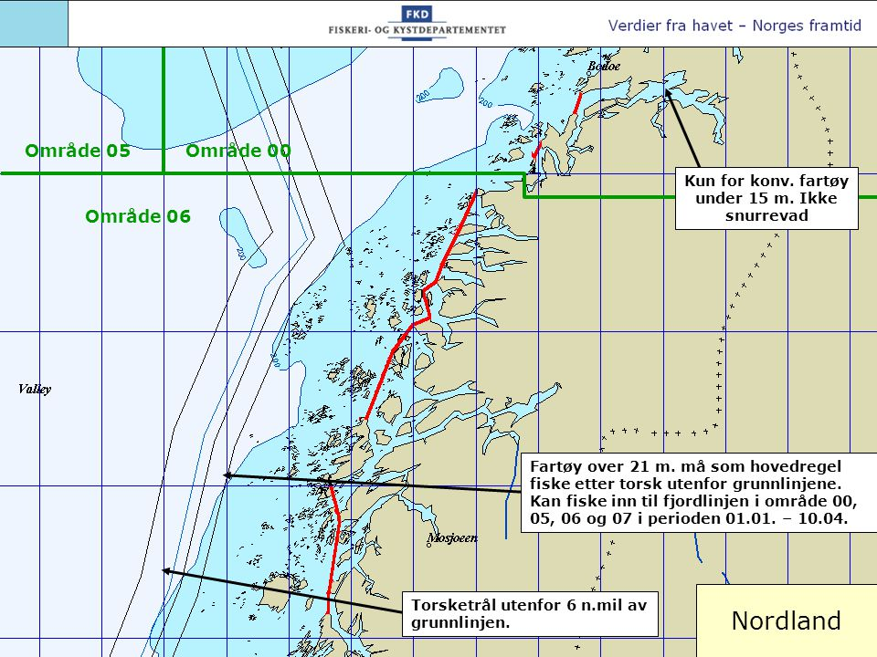 Nordland Torsketrål utenfor 6 n.mil av grunnlinjen. Fartøy over 21 m. må som hovedregel fiske etter torsk utenfor grunnlinjene. Kan fiske inn til fjor
