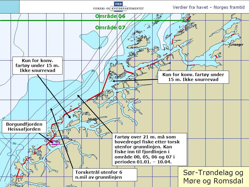 Sør-Trøndelag og Møre og Romsdal Torsketrål utenfor 6 n.mil av grunnlinjen Fartøy over 21 m. må som hovedregel fiske etter torsk utenfor grunnlinjen.