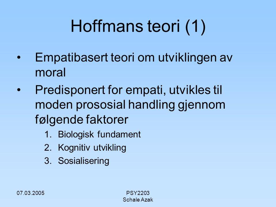 07.03.2005PSY2203 Schale Azak Hoffmans teori (1) Empatibasert teori om utviklingen av moral Predisponert for empati, utvikles til moden prososial hand