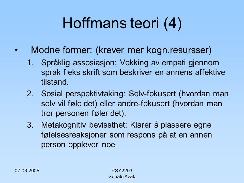 07.03.2005PSY2203 Schale Azak Hoffmans teori (4) Modne former: (krever mer kogn.resursser) 1.Språklig assosiasjon: Vekking av empati gjennom språk f e