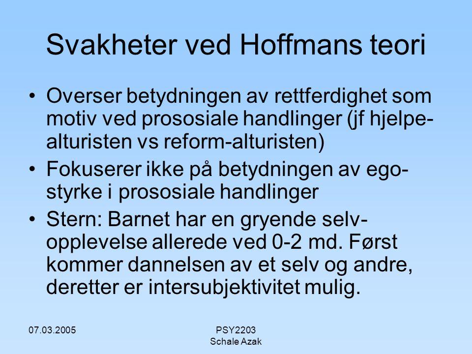 07.03.2005PSY2203 Schale Azak Svakheter ved Hoffmans teori Overser betydningen av rettferdighet som motiv ved prososiale handlinger (jf hjelpe- alturi