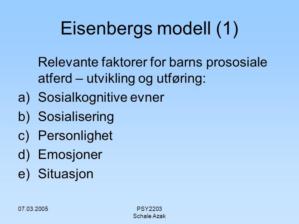07.03.2005PSY2203 Schale Azak Eisenbergs modell (2) Alle faktorene henger sammen og påvirker hverandre Deler opp modellen i følgende 3 deler: Første del som leder til en vurdering av en persons behov, motivasjonsdel, og sammenheng mellom intensjon og handling.