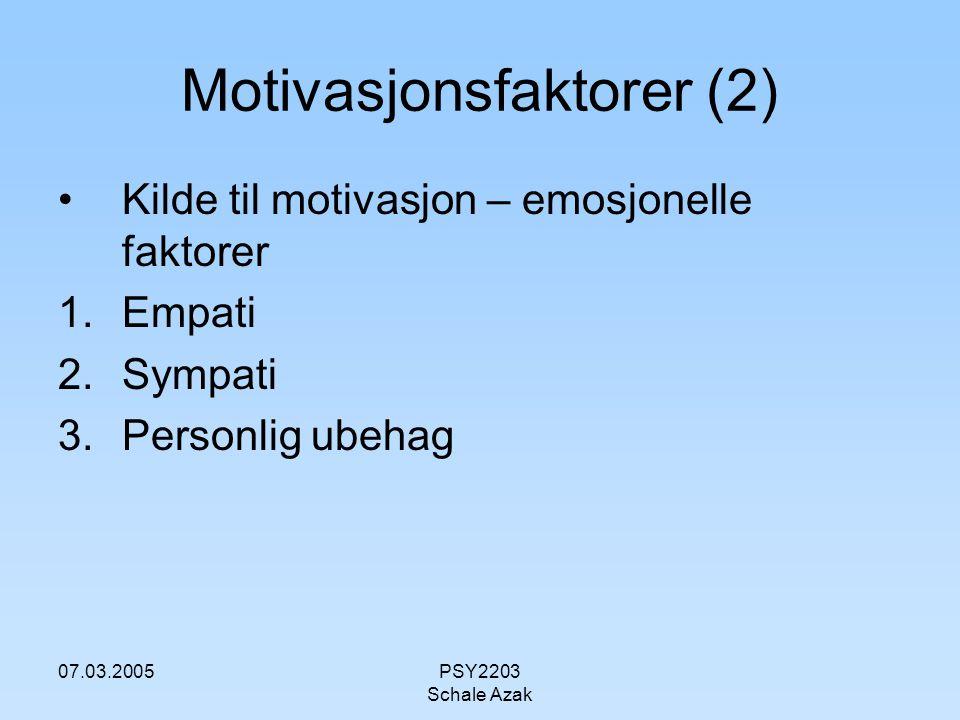 07.03.2005PSY2203 Schale Azak Motivasjonsfaktorer (3) Kilde til motivasjon – kognitive faktorer 1.Forventning av effekt av prososial handling, kost-nytte analyse 2.Vurdering av årsak til en persons behov, selvforskyldt eller et offer 3.Vurdering av forventninger hos egen referansegruppe