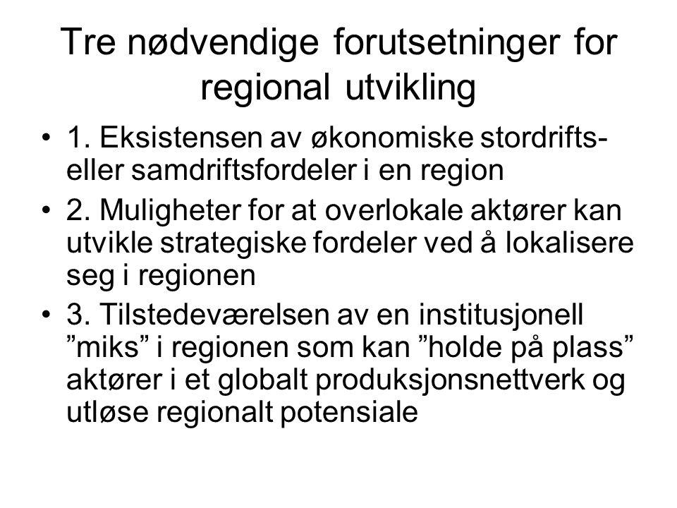 Tre nødvendige forutsetninger for regional utvikling 1.