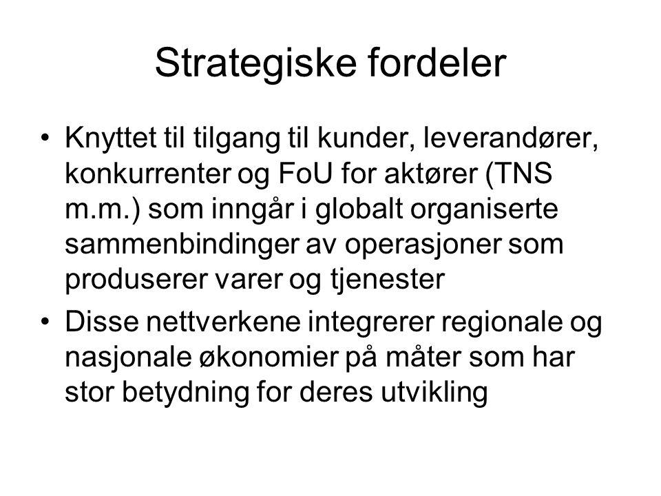 Strategiske fordeler Knyttet til tilgang til kunder, leverandører, konkurrenter og FoU for aktører (TNS m.m.) som inngår i globalt organiserte sammenbindinger av operasjoner som produserer varer og tjenester Disse nettverkene integrerer regionale og nasjonale økonomier på måter som har stor betydning for deres utvikling