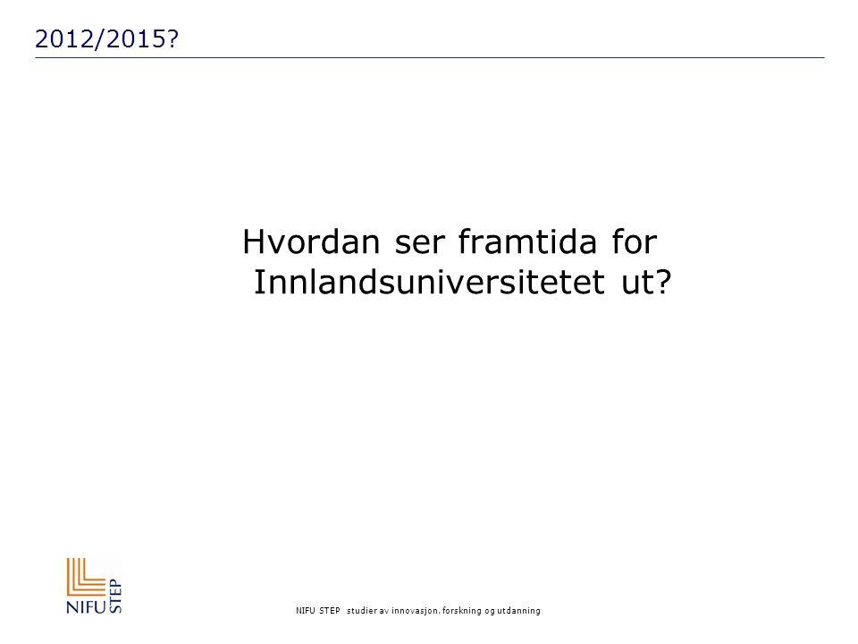 NIFU STEP studier av innovasjon, forskning og utdanning 2012/2015? Hvordan ser framtida for Innlandsuniversitetet ut?