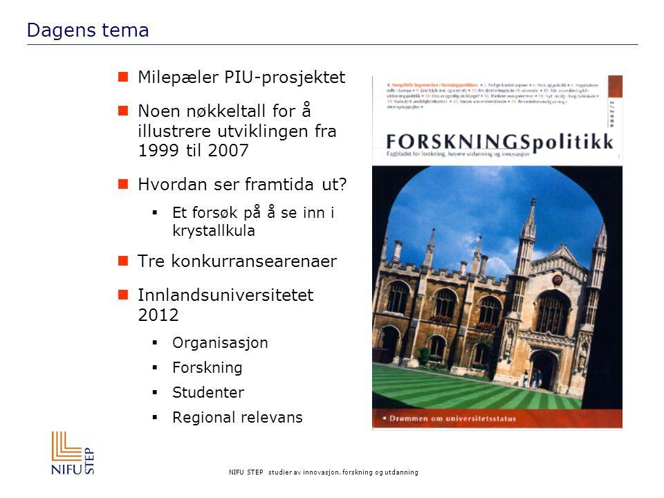 NIFU STEP studier av innovasjon, forskning og utdanning Dagens tema Milepæler PIU-prosjektet Noen nøkkeltall for å illustrere utviklingen fra 1999 til 2007 Hvordan ser framtida ut.