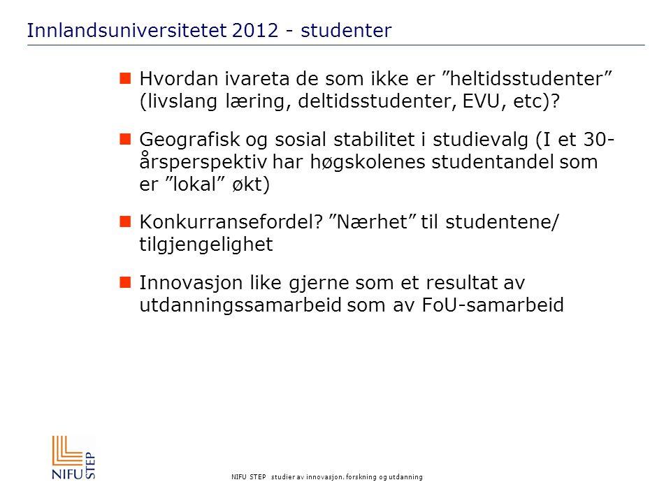 NIFU STEP studier av innovasjon, forskning og utdanning Innlandsuniversitetet 2012 - studenter Hvordan ivareta de som ikke er heltidsstudenter (livslang læring, deltidsstudenter, EVU, etc).