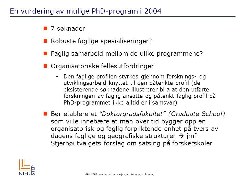 NIFU STEP studier av innovasjon, forskning og utdanning En vurdering av mulige PhD-program i 2004 7 søknader Robuste faglige spesialiseringer? Faglig