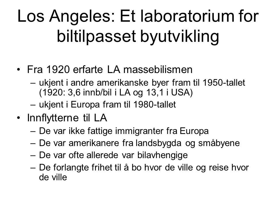 Los Angeles: Et laboratorium for biltilpasset byutvikling Fra 1920 erfarte LA massebilismen –ukjent i andre amerikanske byer fram til 1950-tallet (1920: 3,6 innb/bil i LA og 13,1 i USA) –ukjent i Europa fram til 1980-tallet Innflytterne til LA –De var ikke fattige immigranter fra Europa –De var amerikanere fra landsbygda og småbyene –De var ofte allerede var bilavhengige –De forlangte frihet til å bo hvor de ville og reise hvor de ville