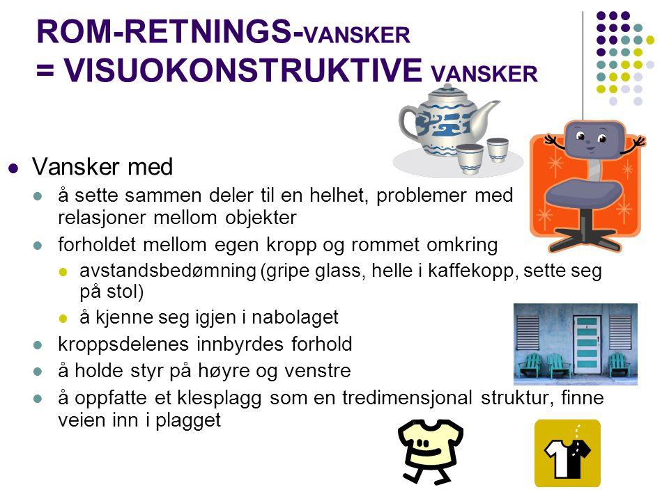 ROM-RETNINGS- VANSKER = VISUOKONSTRUKTIVE VANSKER Vansker med å sette sammen deler til en helhet, problemer med relasjoner mellom objekter forholdet m
