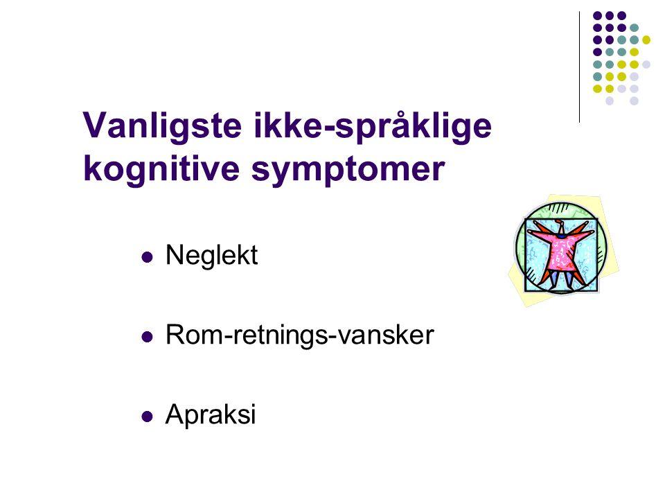Vanligste ikke-språklige kognitive symptomer Neglekt Rom-retnings-vansker Apraksi