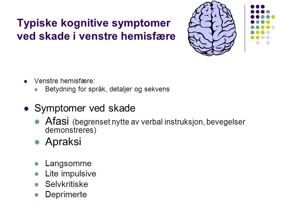 Typiske kognitive symptomer ved skade i venstre hemisfære Venstre hemisfære: Betydning for språk, detaljer og sekvens Symptomer ved skade Afasi (begre
