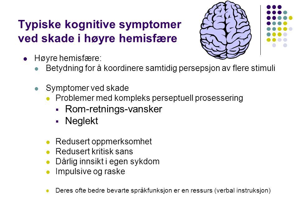 Typiske kognitive symptomer ved skade i høyre hemisfære Høyre hemisfære: Betydning for å koordinere samtidig persepsjon av flere stimuli Symptomer ved
