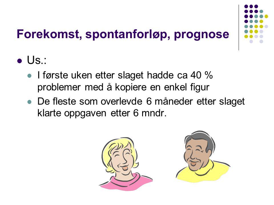 Forekomst, spontanforløp, prognose Us.: I første uken etter slaget hadde ca 40 % problemer med å kopiere en enkel figur De fleste som overlevde 6 måne