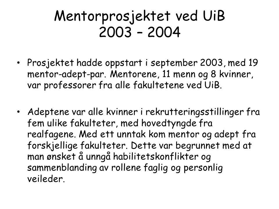 Prosjektet hadde oppstart i september 2003, med 19 mentor-adept-par.