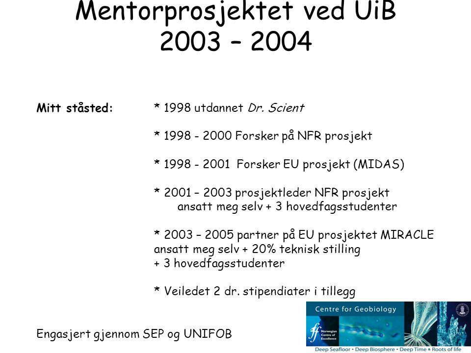 Mitt ståsted:* 1998 utdannet Dr. Scient * 1998 - 2000 Forsker på NFR prosjekt * 1998 - 2001 Forsker EU prosjekt (MIDAS) * 2001 – 2003 prosjektleder NF