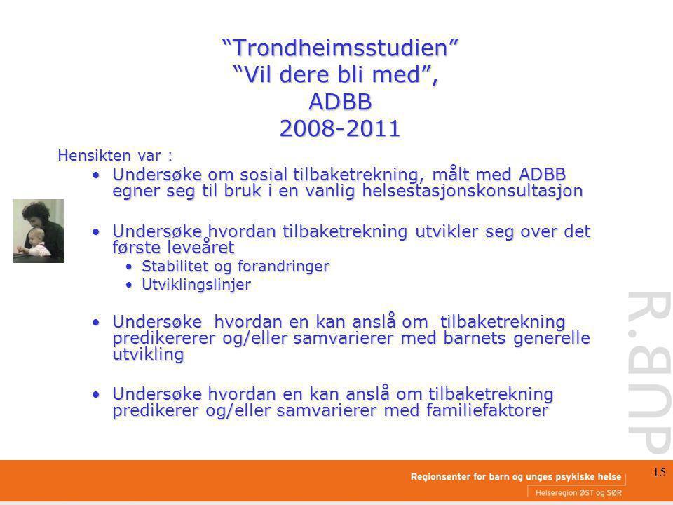 15 Trondheimsstudien Vil dere bli med , ADBB 2008-2011 Trondheimsstudien Vil dere bli med , ADBB 2008-2011 Hensikten var : Undersøke om sosial tilbaketrekning, målt med ADBB egner seg til bruk i en vanlig helsestasjonskonsultasjonUndersøke om sosial tilbaketrekning, målt med ADBB egner seg til bruk i en vanlig helsestasjonskonsultasjon Undersøke hvordan tilbaketrekning utvikler seg over det første leveåretUndersøke hvordan tilbaketrekning utvikler seg over det første leveåret Stabilitet og forandringerStabilitet og forandringer UtviklingslinjerUtviklingslinjer Undersøke hvordan en kan anslå om tilbaketrekning predikererer og/eller samvarierer med barnets generelle utviklingUndersøke hvordan en kan anslå om tilbaketrekning predikererer og/eller samvarierer med barnets generelle utvikling Undersøke hvordan en kan anslå om tilbaketrekning predikerer og/eller samvarierer med familiefaktorerUndersøke hvordan en kan anslå om tilbaketrekning predikerer og/eller samvarierer med familiefaktorer