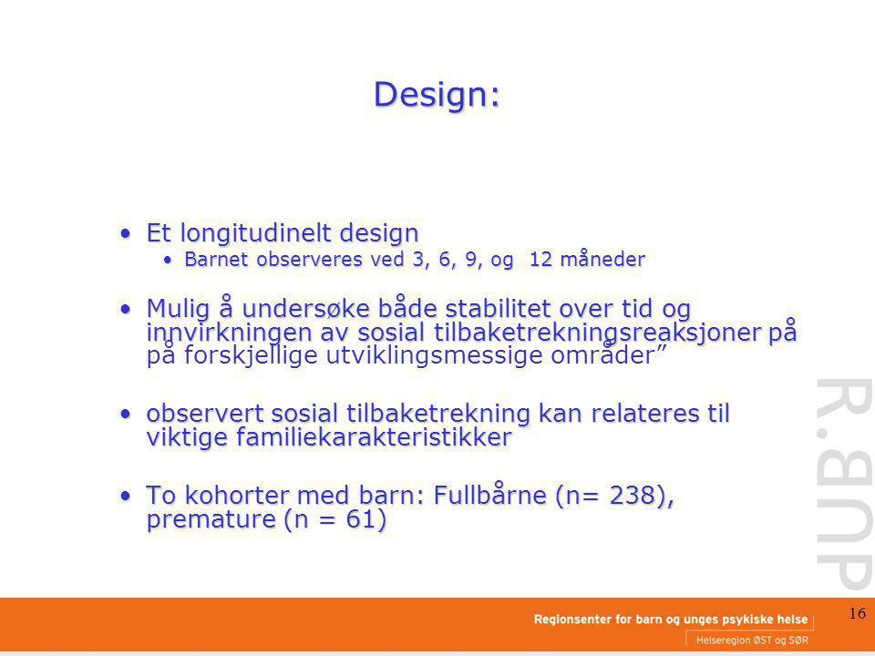 16 Design: Et longitudinelt designEt longitudinelt design Barnet observeres ved 3, 6, 9, og 12 månederBarnet observeres ved 3, 6, 9, og 12 måneder Mul