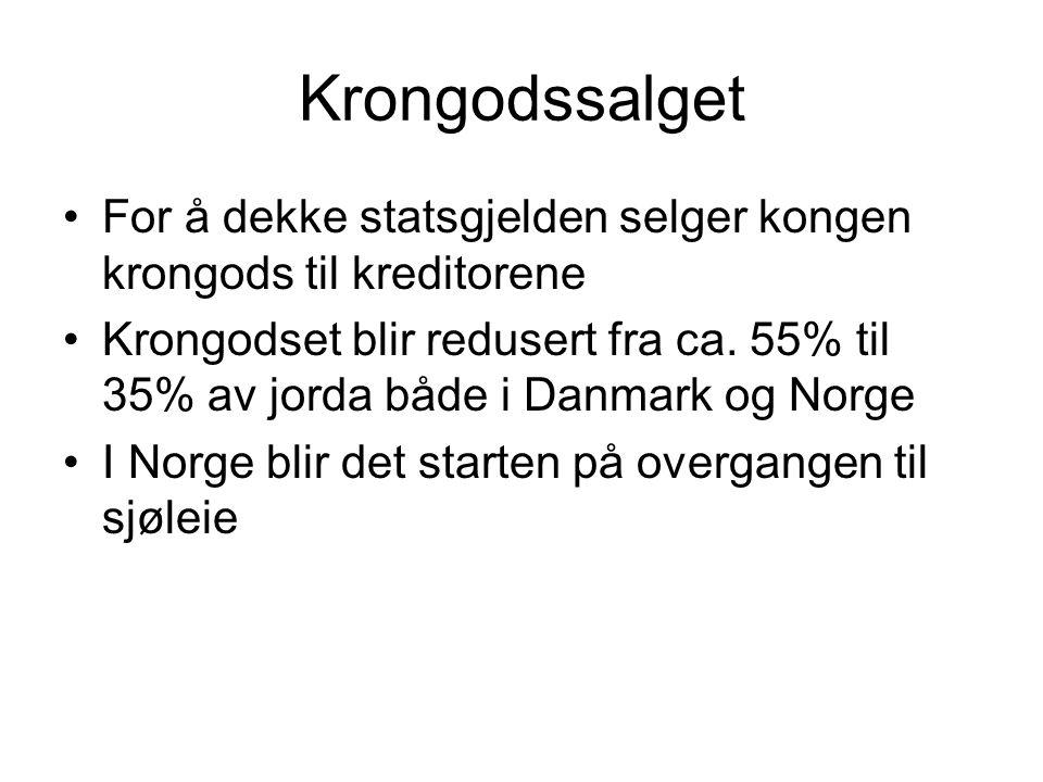 Krongodssalget For å dekke statsgjelden selger kongen krongods til kreditorene Krongodset blir redusert fra ca. 55% til 35% av jorda både i Danmark og