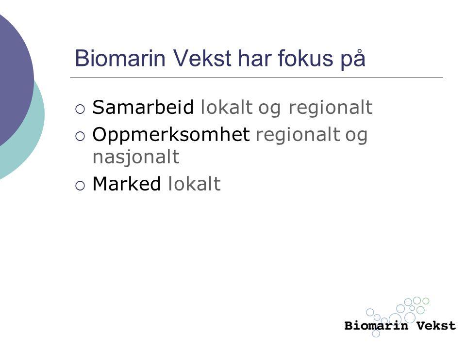 Biomarin Vekst har fokus på  Samarbeid lokalt og regionalt  Oppmerksomhet regionalt og nasjonalt  Marked lokalt