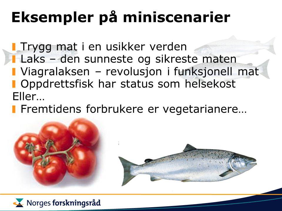 Eksempler på miniscenarier Trygg mat i en usikker verden Laks – den sunneste og sikreste maten Viagralaksen – revolusjon i funksjonell mat Oppdrettsfi